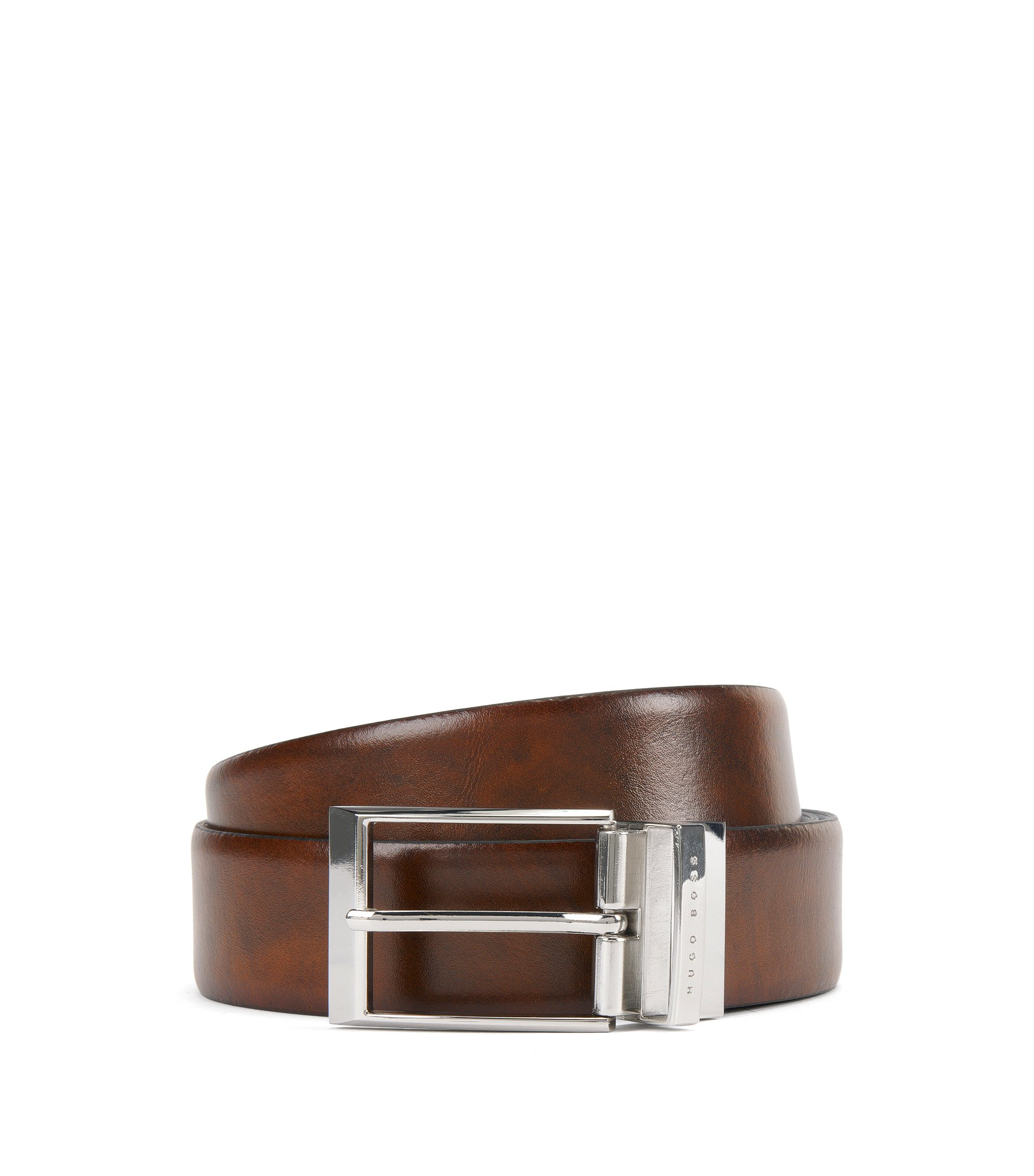 Reversible belt in smooth leather, Brown