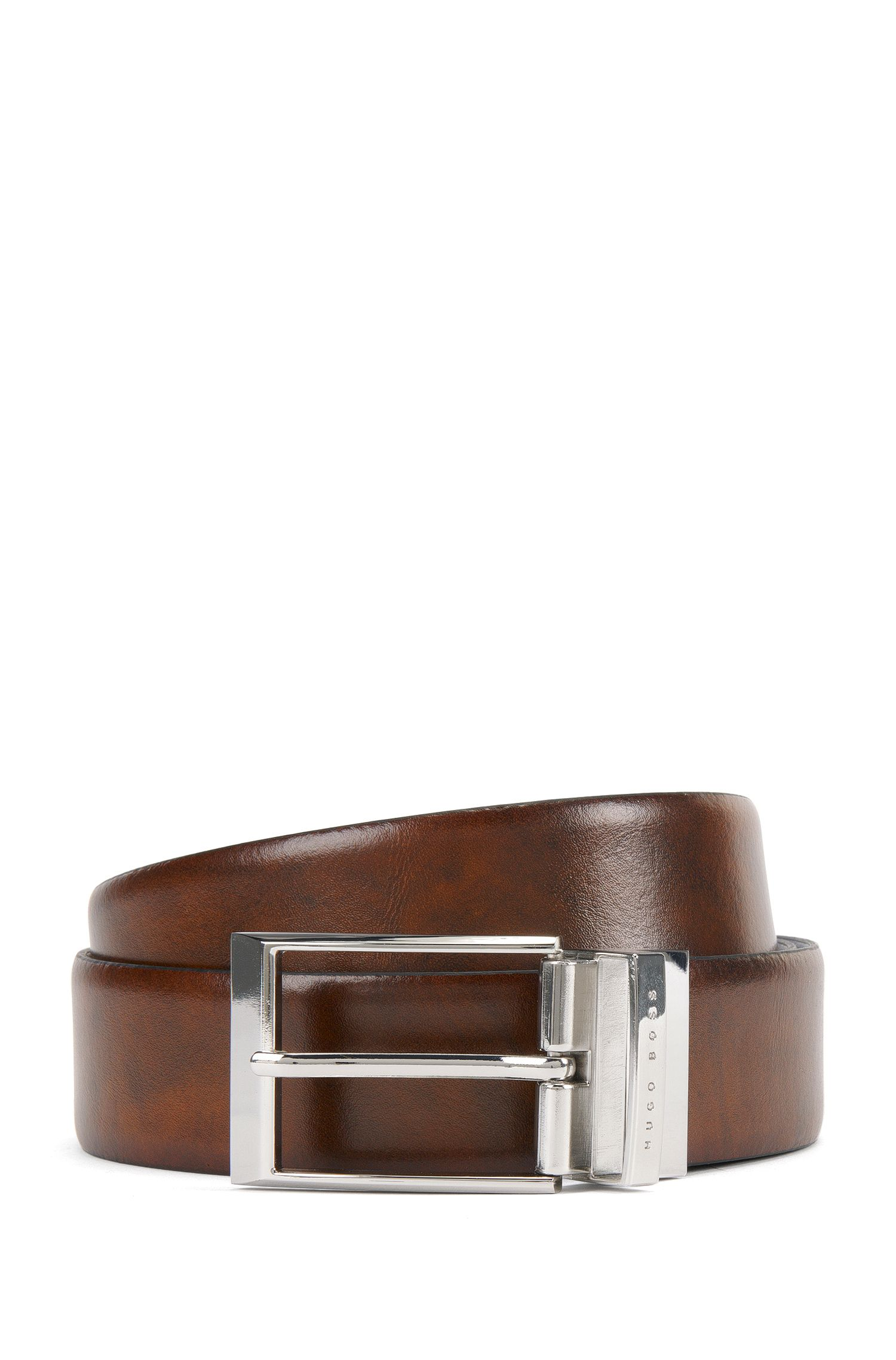 Reversible belt in smooth leather