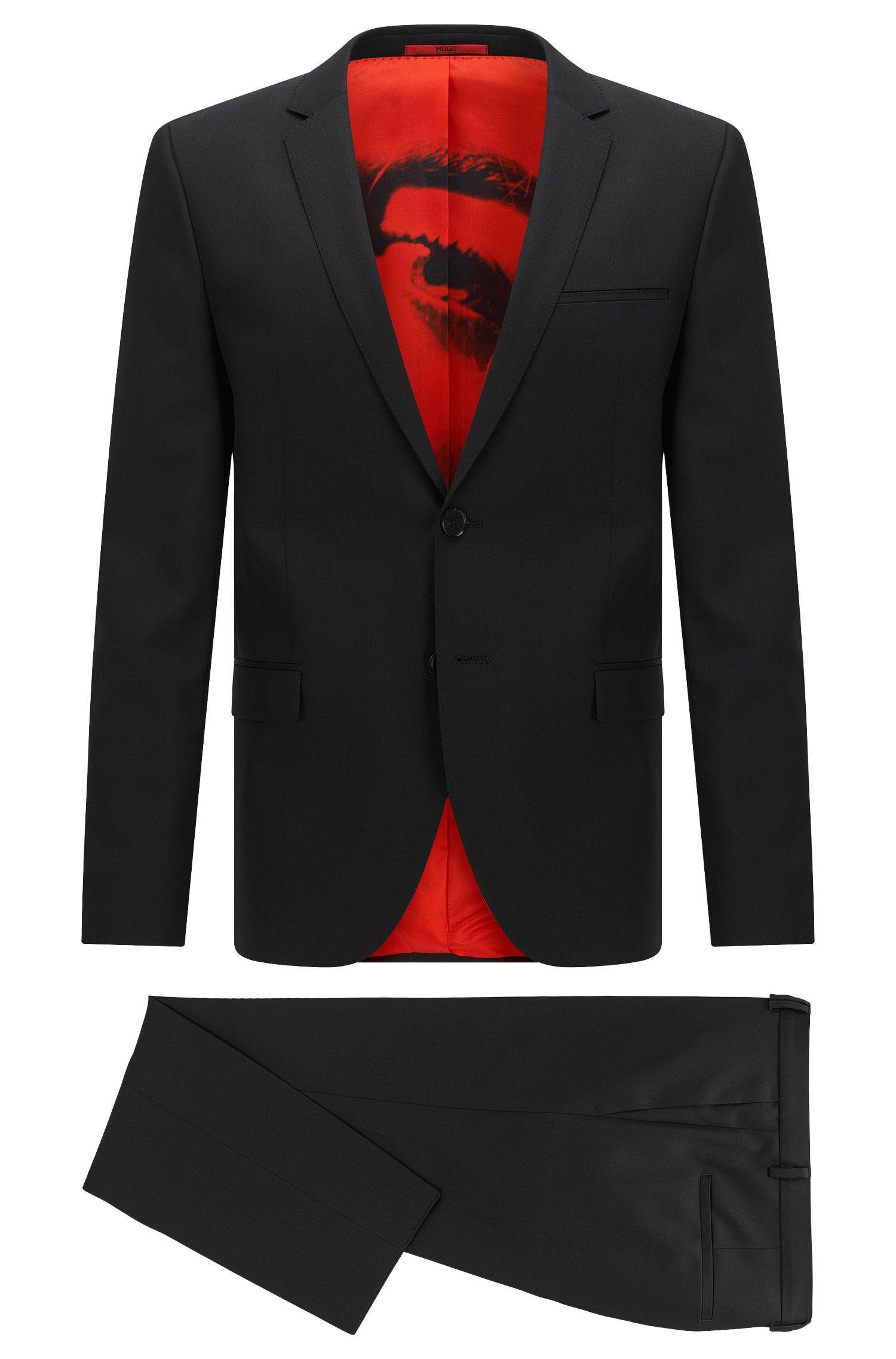Extra-slim-fit suit in virgin wool