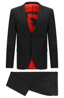 Extra-slim-fit suit in virgin wool, Black