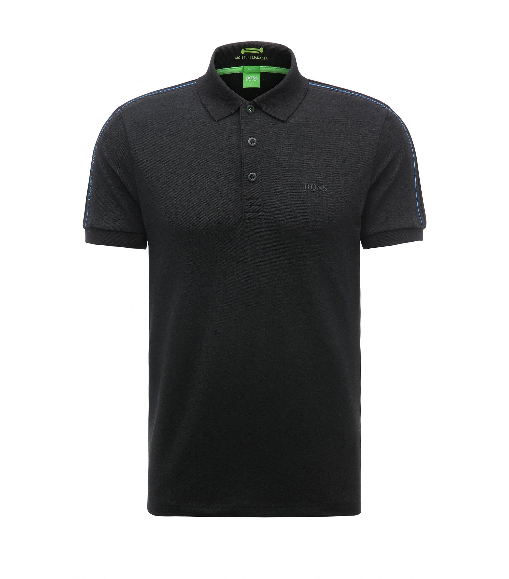 Slim-Fit Poloshirt aus elastischem Baumwoll-Mix, Schwarz