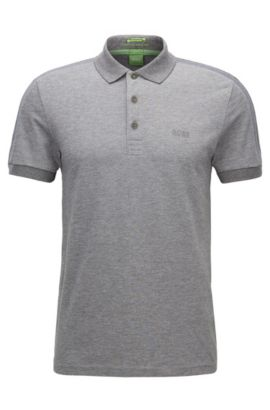 Polo Slim Fit en tissu technique stretch, Gris