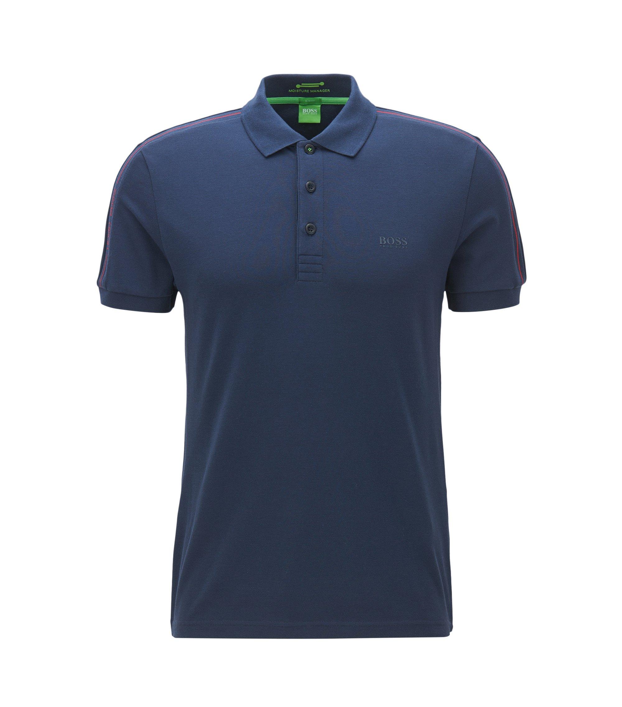 Polo Slim Fit en tissu technique stretch, Bleu foncé