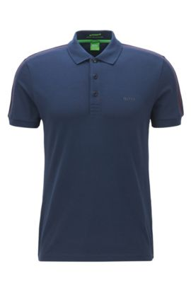 Slim-fit polo shirt in technical stretch fabric, Azul oscuro