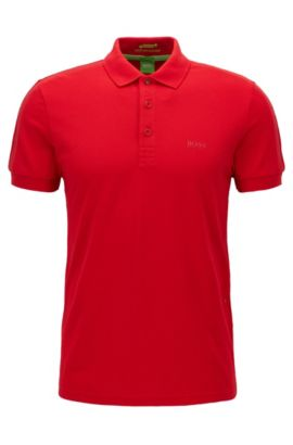 Polo Slim Fit en tissu technique stretch, Rouge