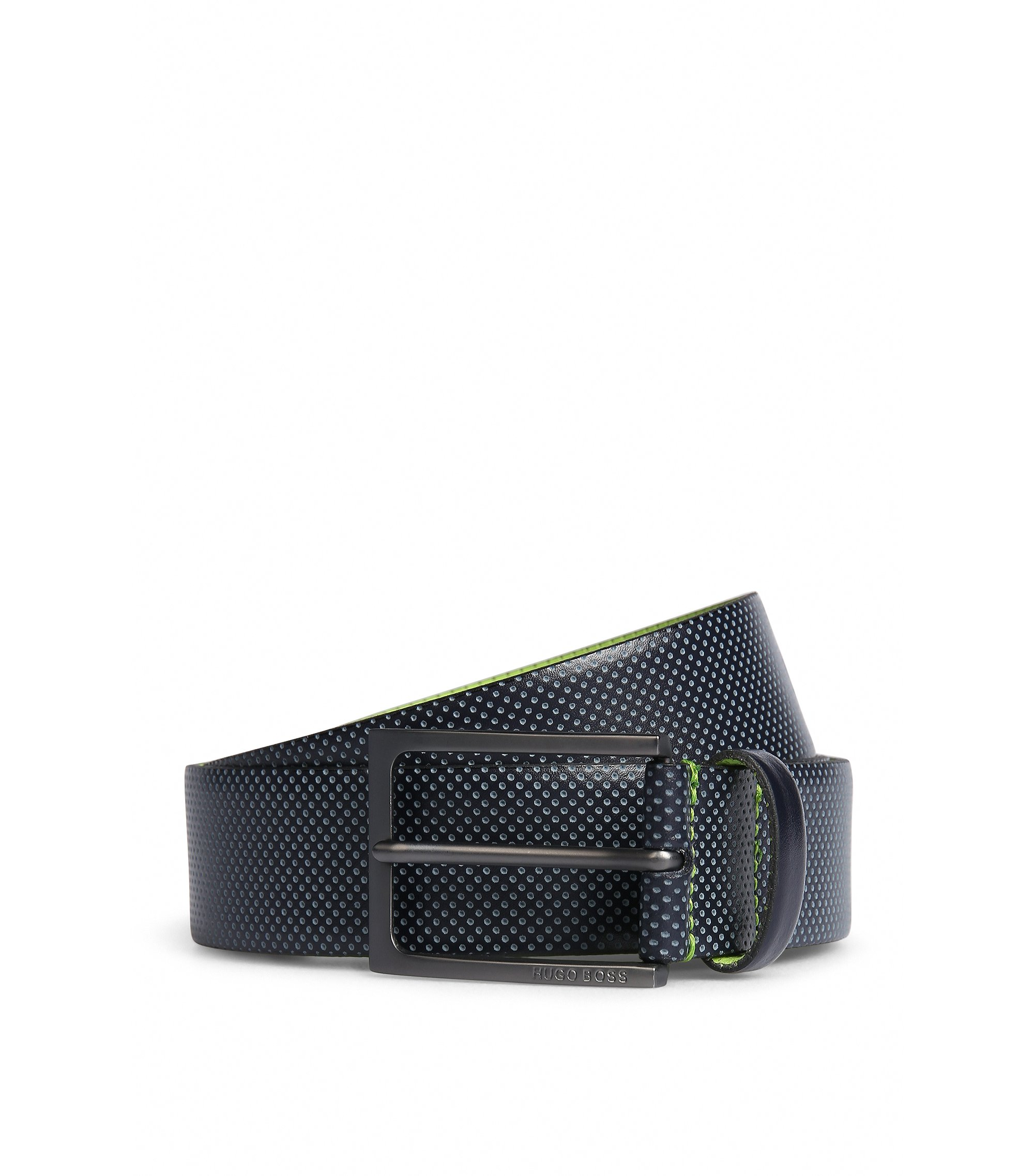 Leather belt with contrast perforations, Dark Blue