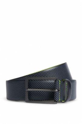 Cintura in pelle con trafori a contrasto, Blu scuro