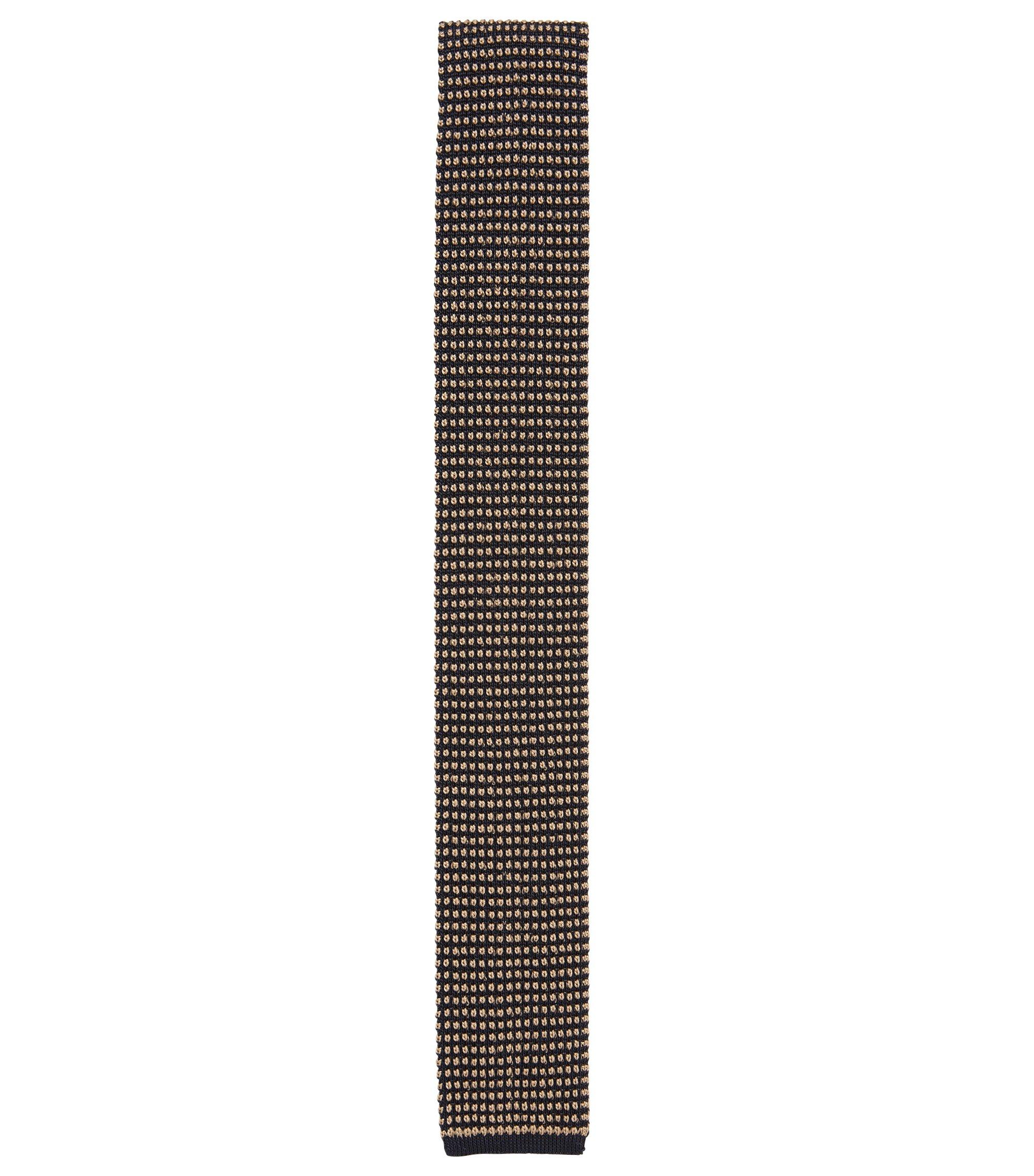 Cravate en soie à bout carré en maille jacquard, Beige