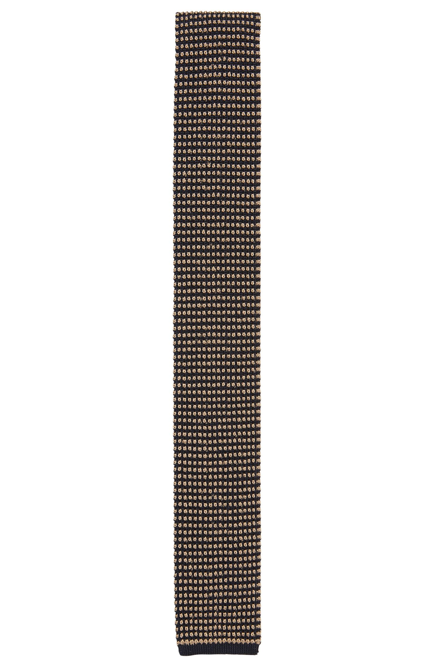 Square-tipped silk tie in knitted jacquard