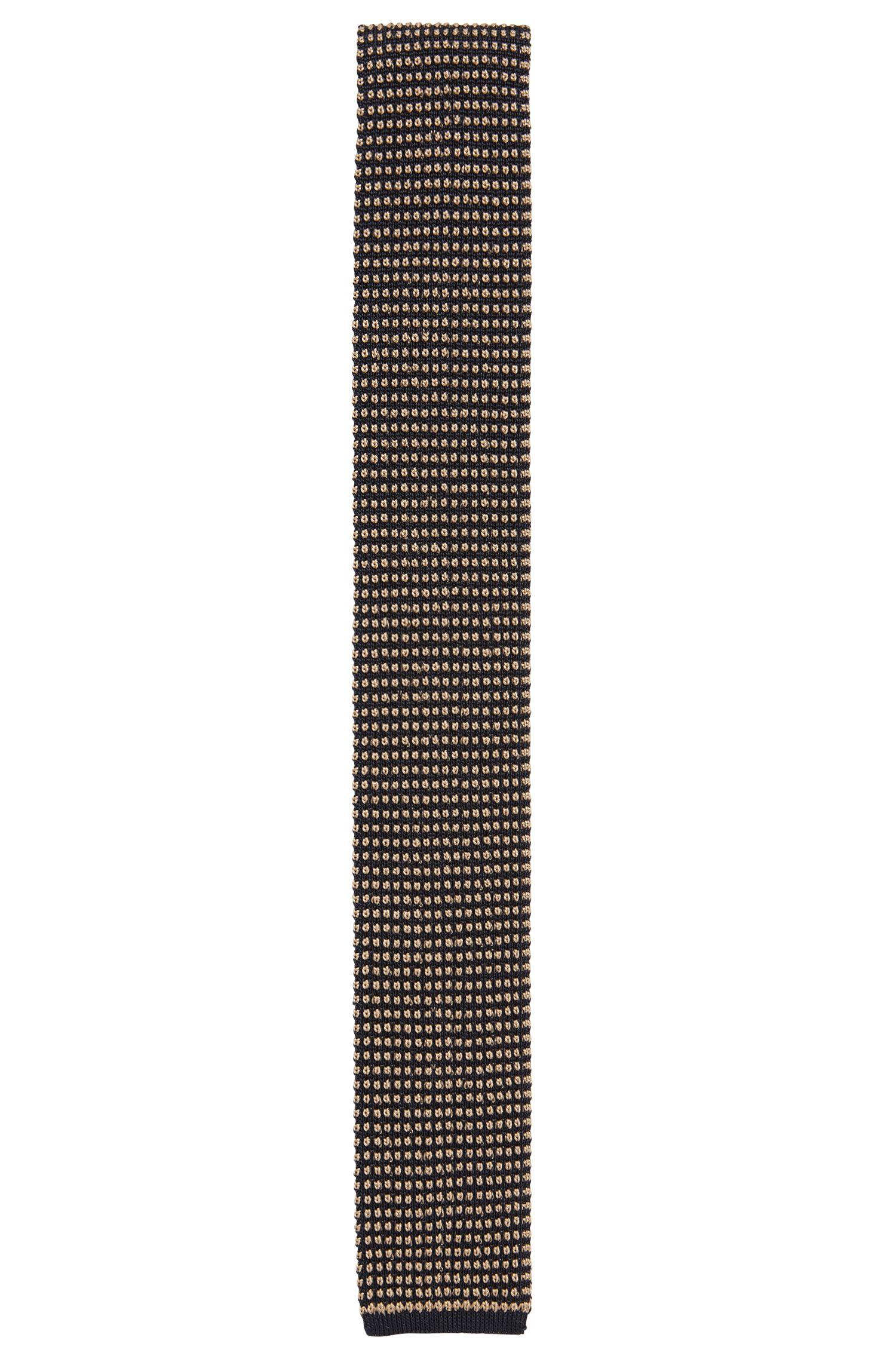 Corbata de seda con extremo cuadrado en punto de jacquard