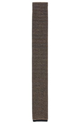 Square-tipped silk tie in knitted jacquard, Beige
