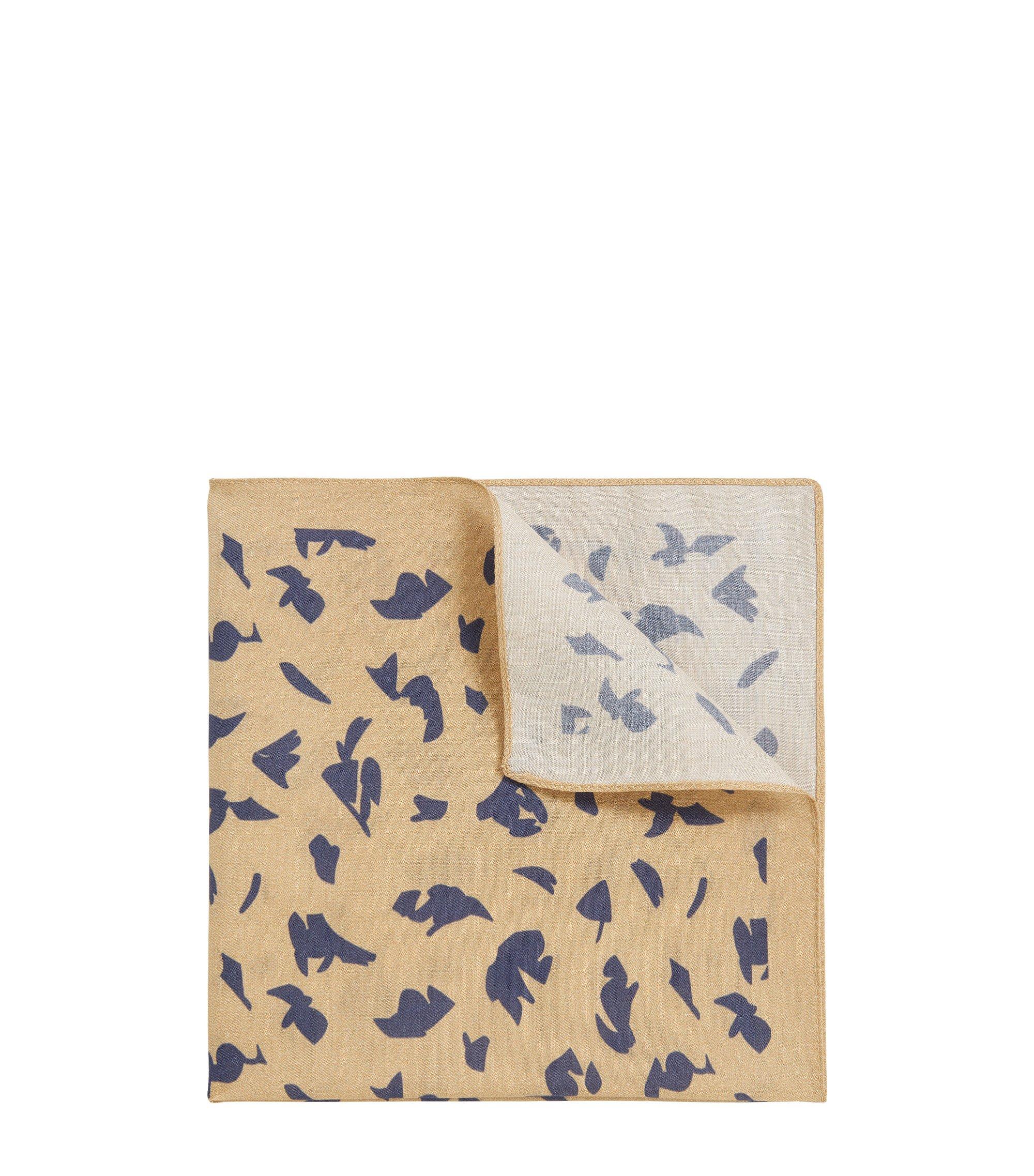 Pochet van een mix van katoen en zijde met print, Beige