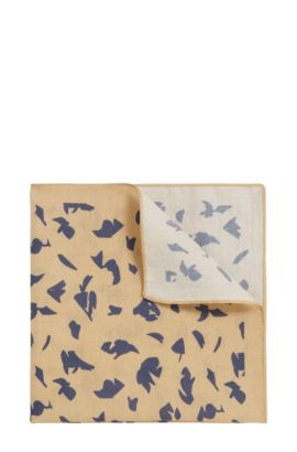 Printed pocket square in silk-cotton blend, Beige