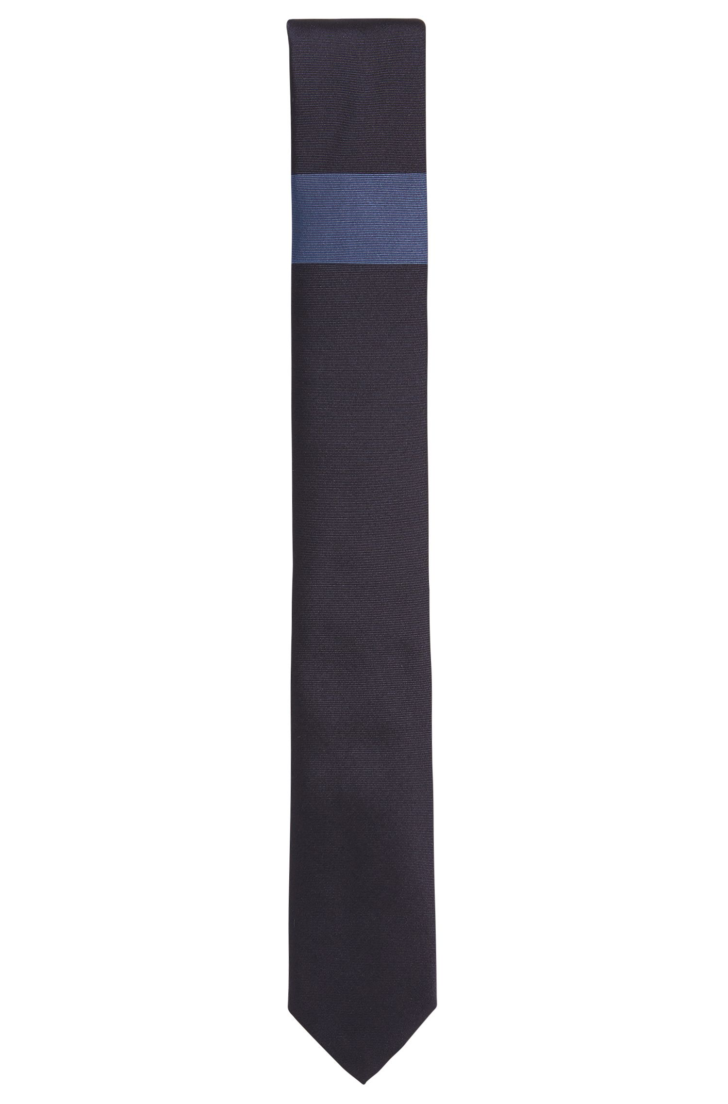Silk tie with horizontal colourblock detail