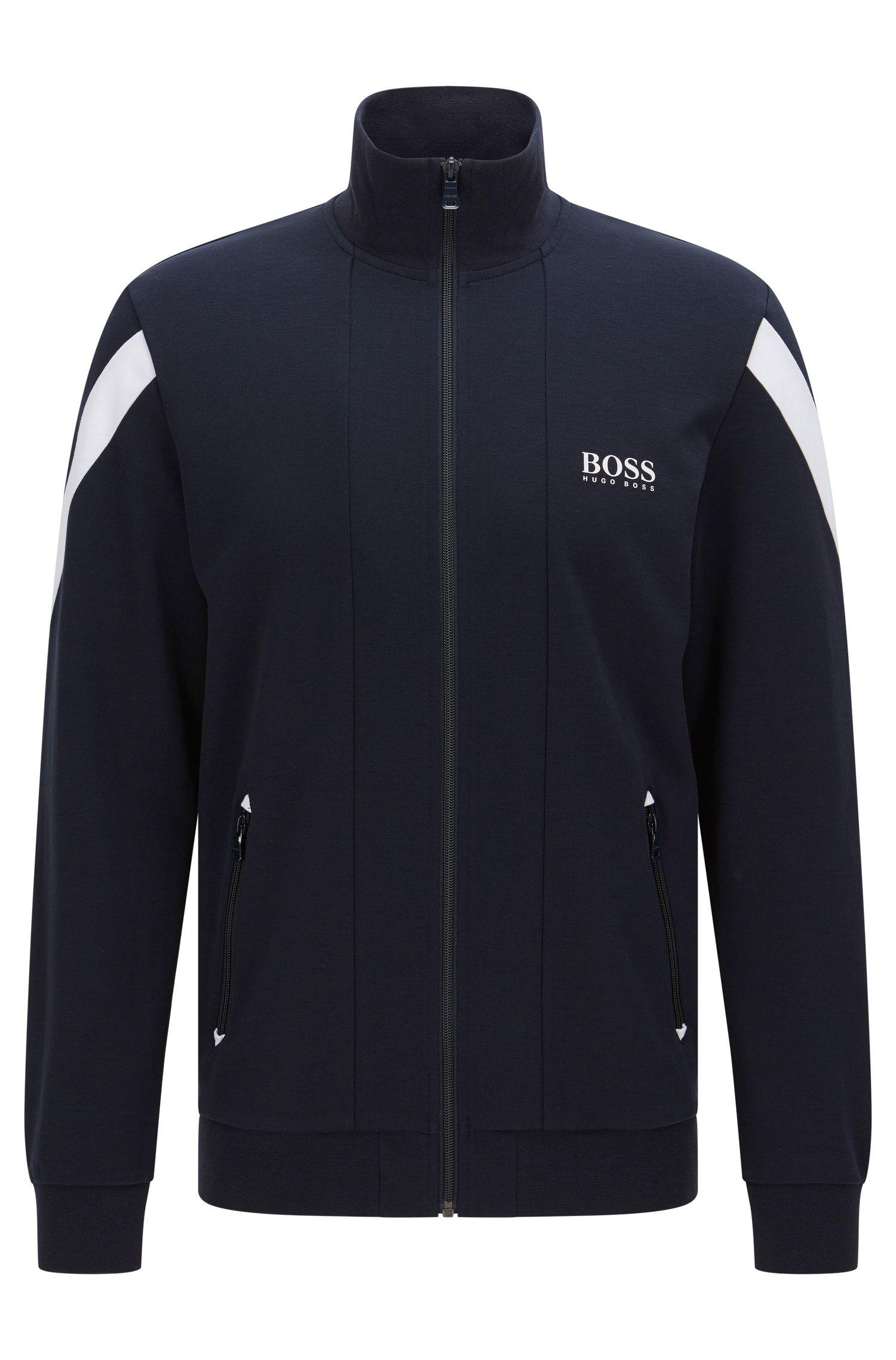 Loungewear jacket in knitted piqué