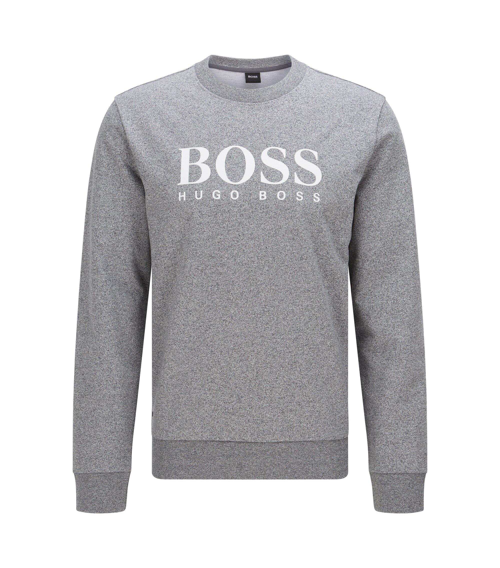 Sweatshirt van katoen met lange mouwen en contrasterend logodetail, Antraciet