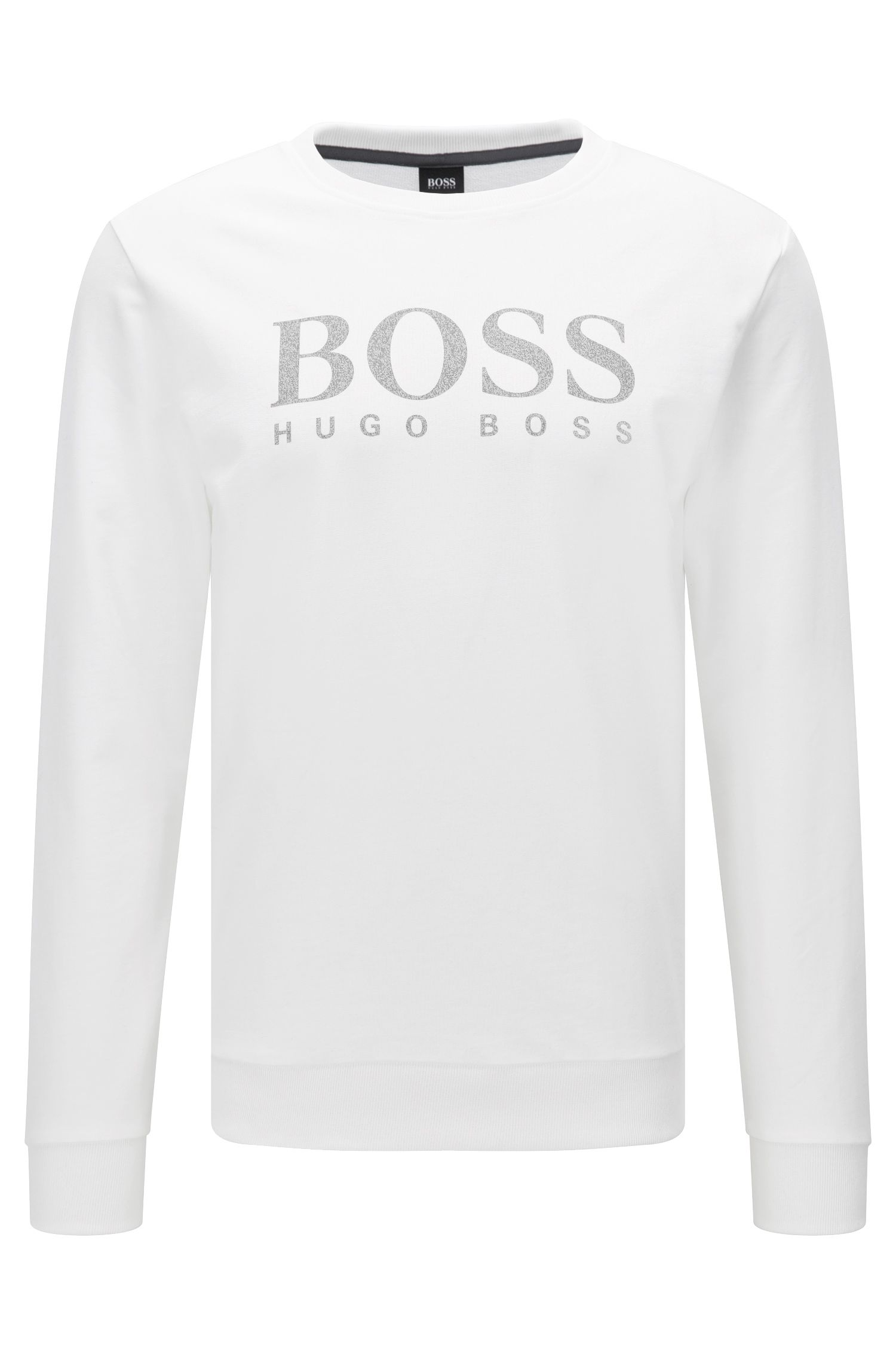 Baumwoll-Sweatshirt mit kontrastfarbenem Logo-Print