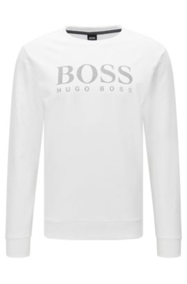 Sweatshirt van katoen met lange mouwen en contrasterend logodetail, Wit