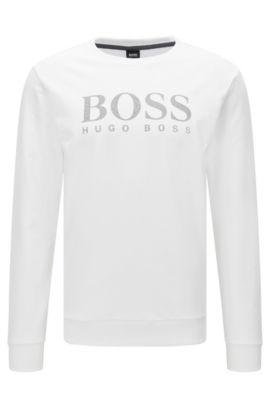 Baumwoll-Sweatshirt mit kontrastfarbenem Logo-Print, Weiß