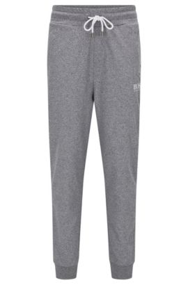 Cuffed loungewear bottoms in French terry, Anthracite