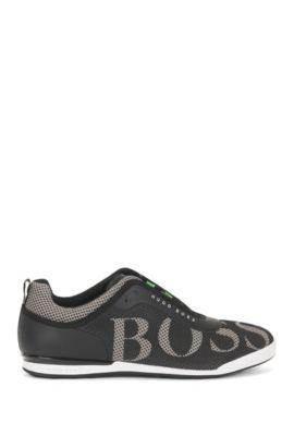 Sneakers low-top in pelle e rete, Nero