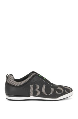 Sneakers low-top in pelle e rete, Nero