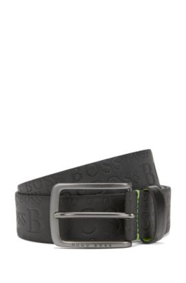 Leather belt with logo-embossed strap, Black