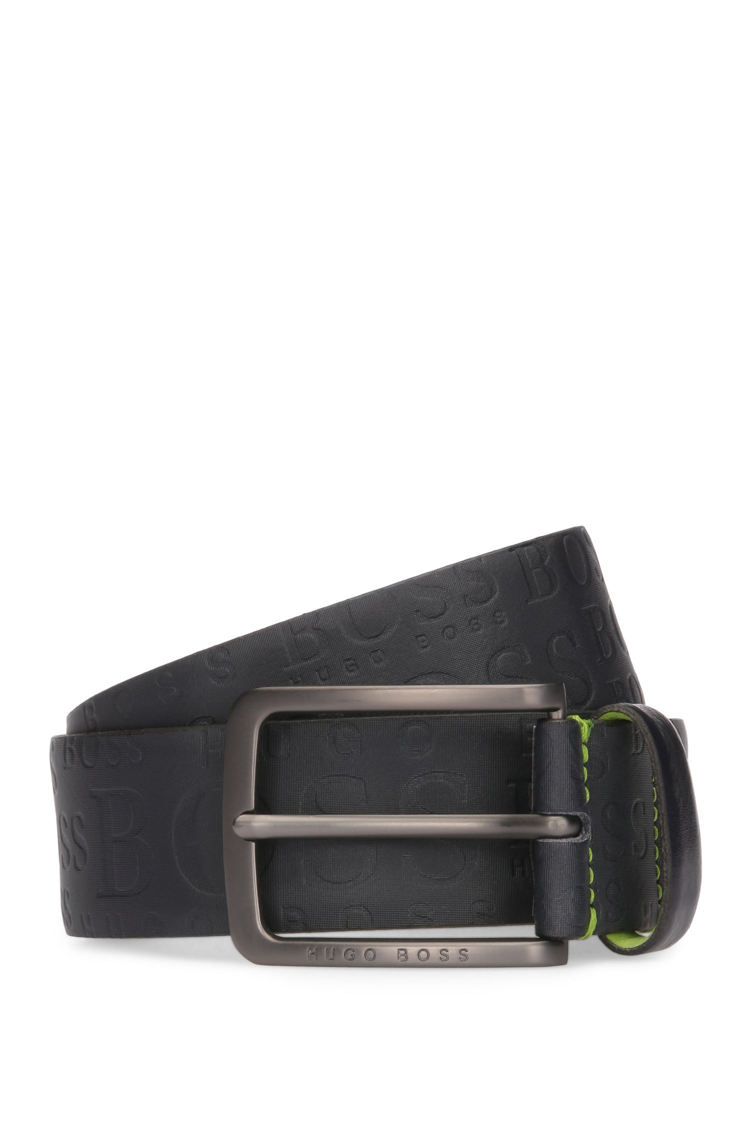 Leather belt with logo-embossed strap