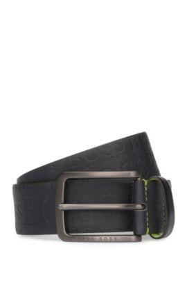 Leather belt with logo-embossed strap, Dark Blue