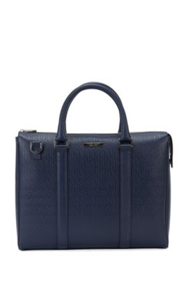 Borsa portadocumenti Signature Holiday Edition in pelle palmellata, Blu scuro