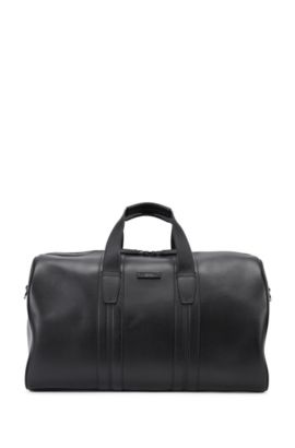 Large leather weekender bag with stitched leather detail, Black