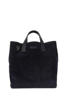 Tote Bag aus Veloursleder mit abnehmbarem Schulterriemen, Dunkelblau