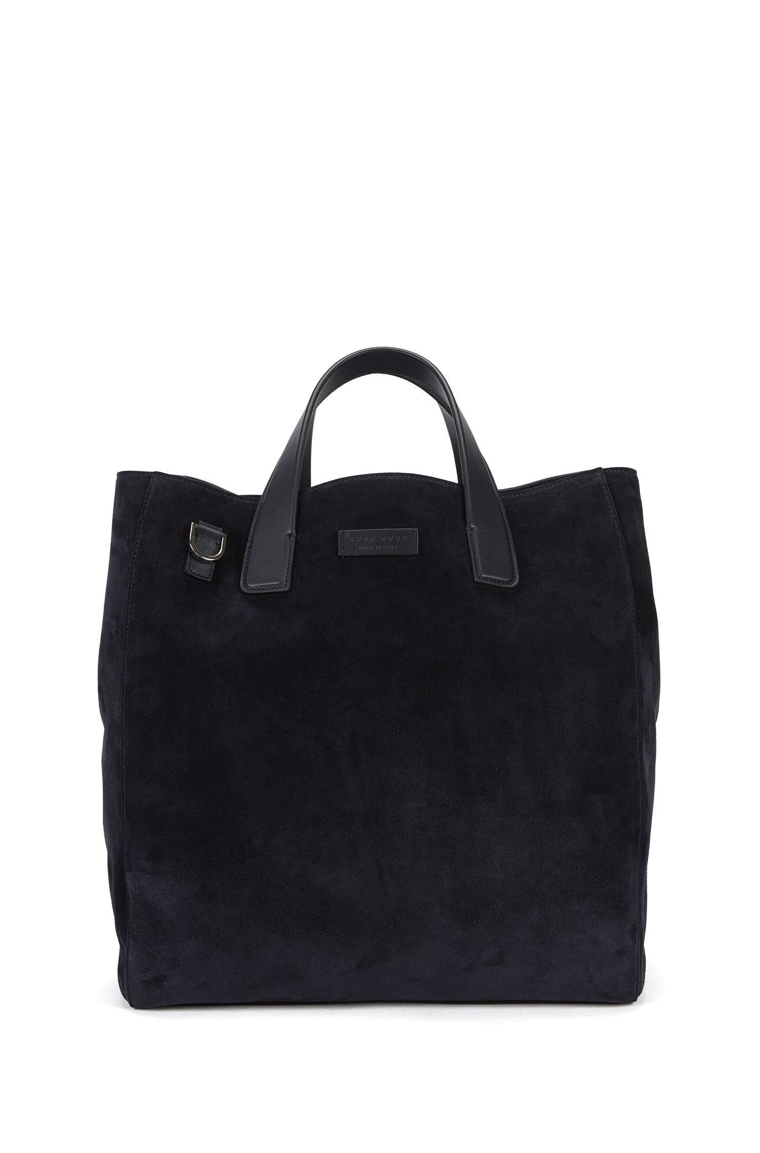 Suede tote bag with detachable shoulder strap