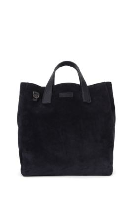 Suede tote bag with detachable shoulder strap, Dark Blue