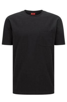Relaxed-Fit T-Shirt aus softer Stretch-Baumwolle mit Naht-Details, Schwarz