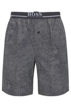 Short de pyjama en coton avec taille apparente, Gris sombre