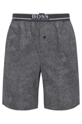 Pyjama shorts in cotton with exposed waistband, Dark Grey