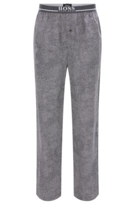 Pyjama bottoms in cotton with exposed waistband, Dark Grey