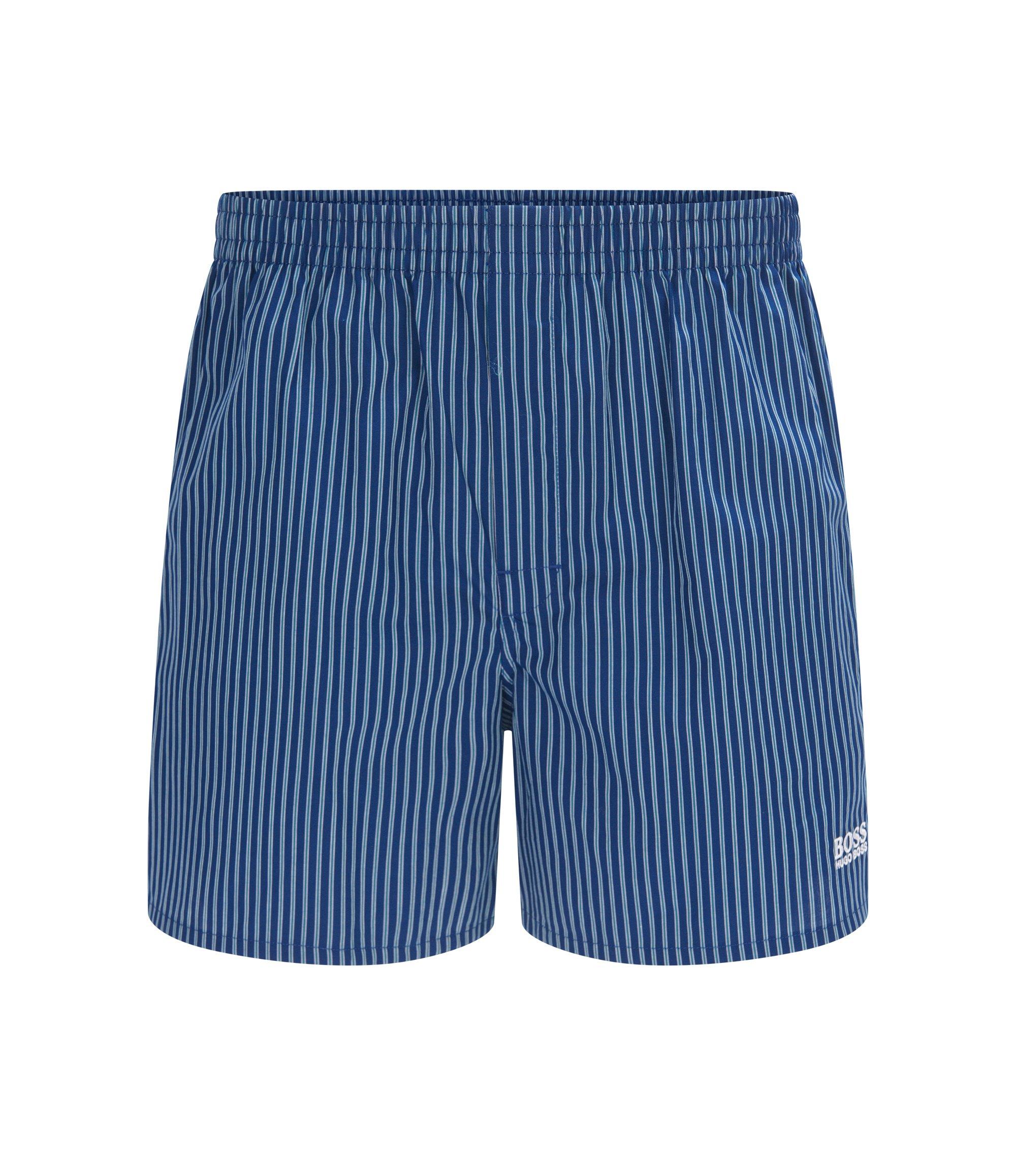 Boxershort van katoen met verticale strepen, Donkerblauw