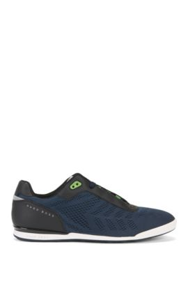 Low-top trainers in technical mesh, Dark Blue