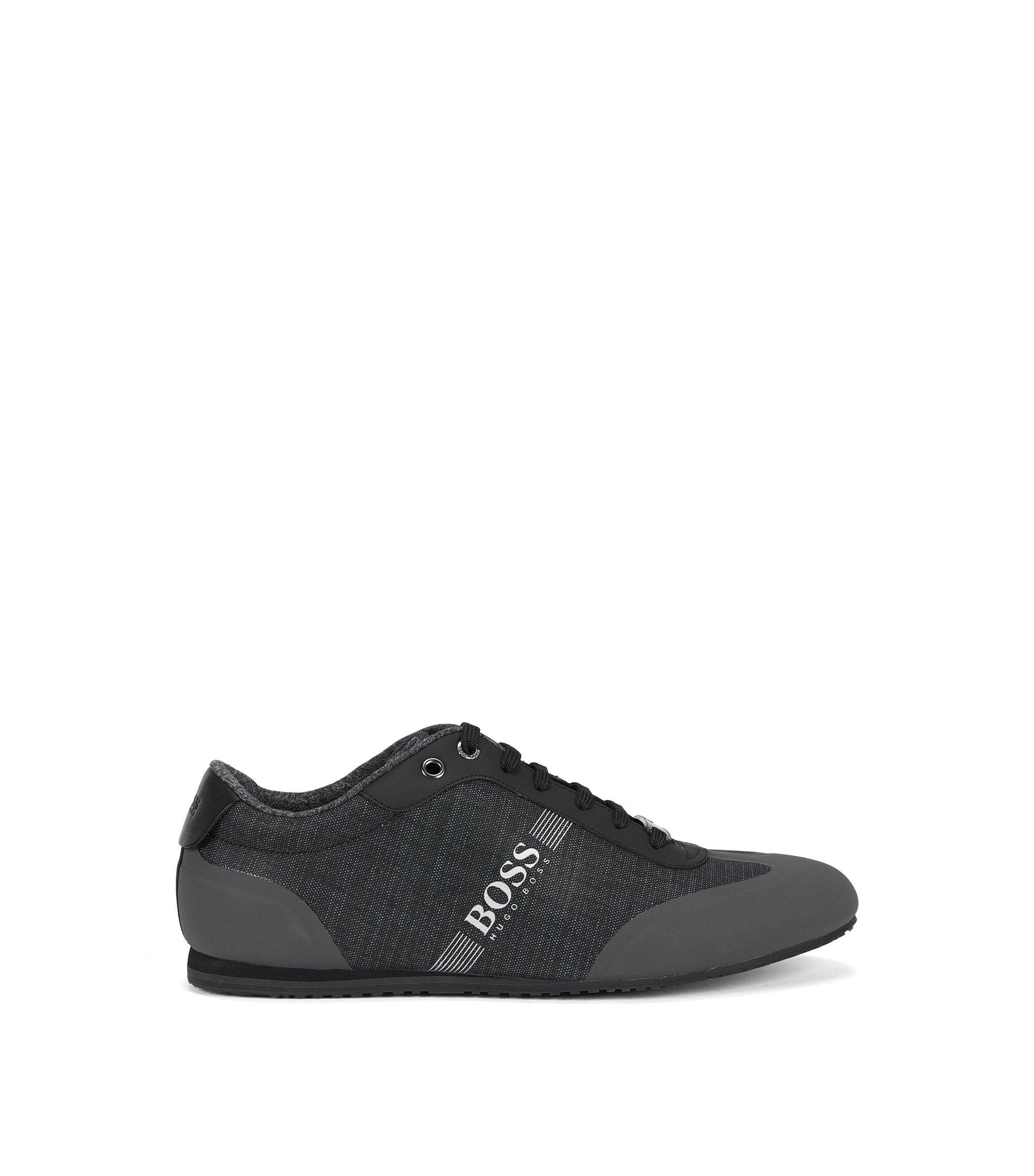 Vetersneakers van gecoate denim, Zwart