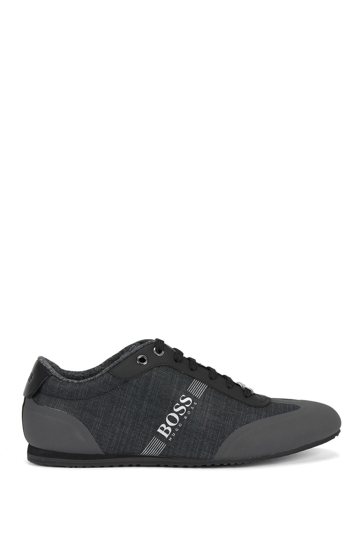 Lace-up trainers in coated denim