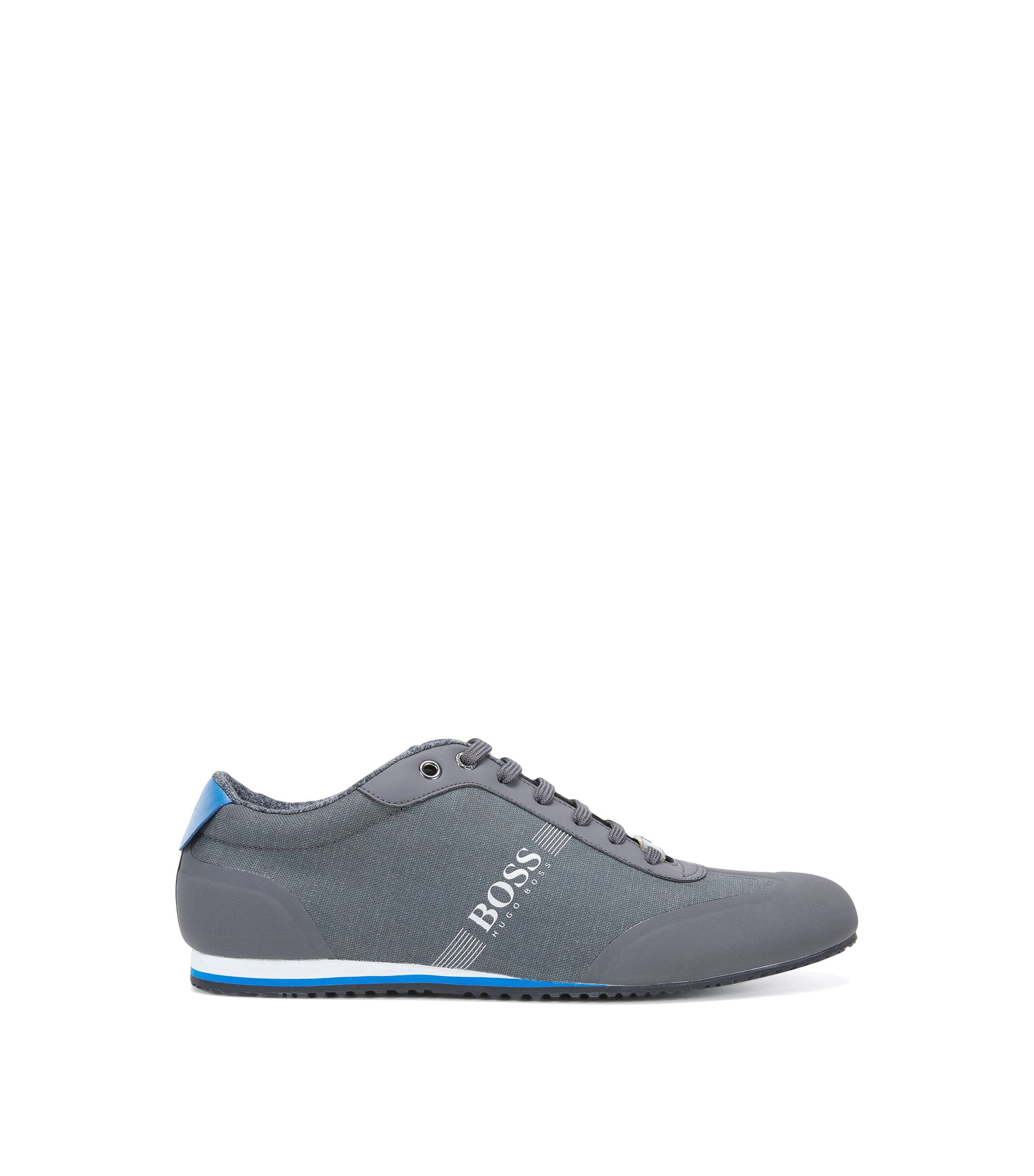 Lace-up trainers in coated denim, Dark Grey