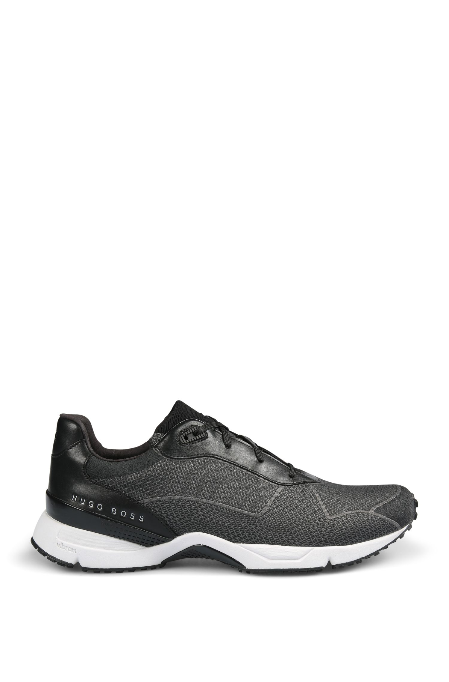 Lace-up trainers with knitted upper