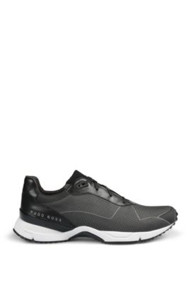 Lace-up trainers with knitted upper, Dark Grey