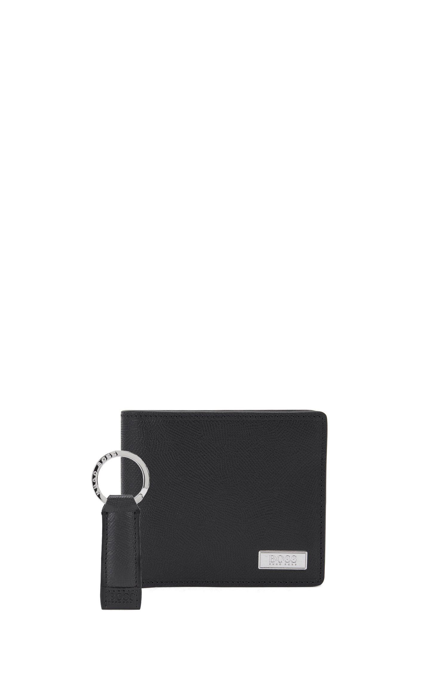 Coffret cadeau avec portefeuille en cuir et porte-clés avec œuvre estampée