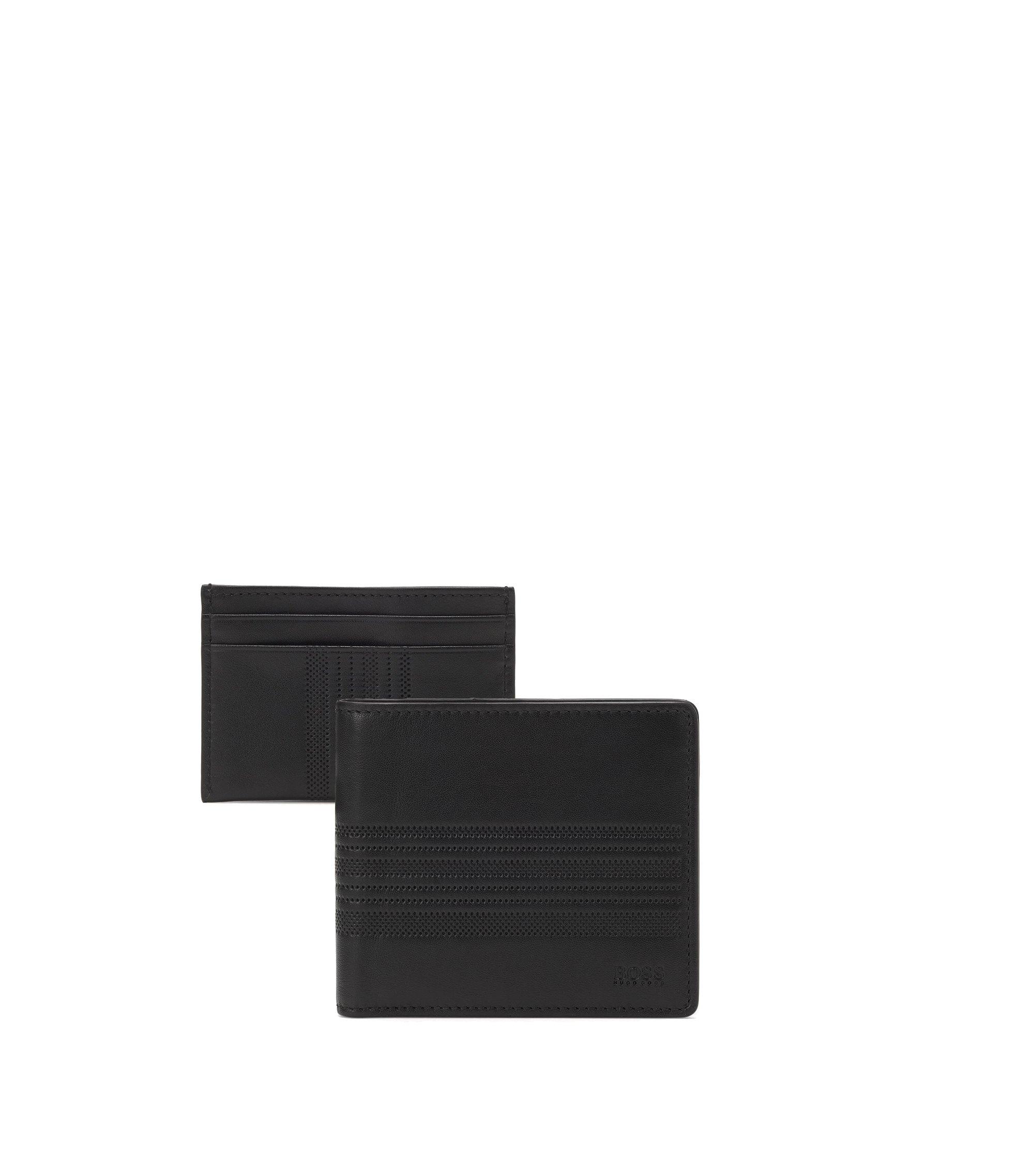 Set de regalo con cartera y tarjetero de piel con recubrimiento a rayas, Negro