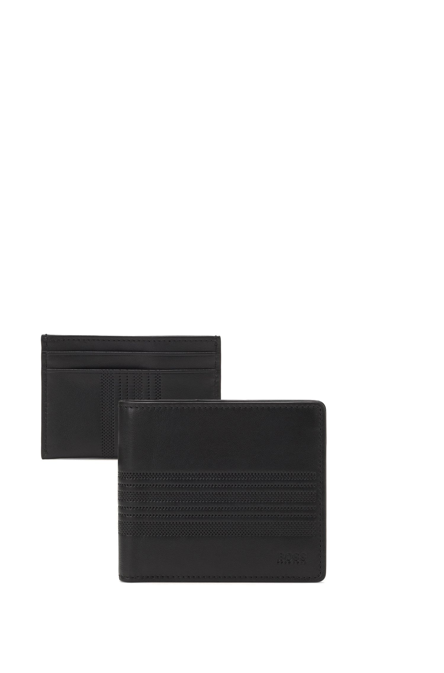 Leather wallet and card holder gift set with striped embossing
