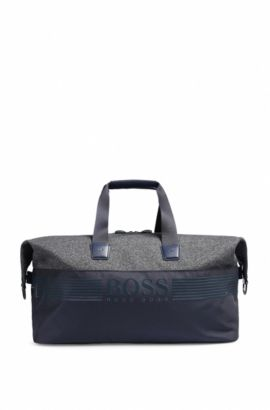 Sporty weekend bag in nylon and jersey, Dark Blue