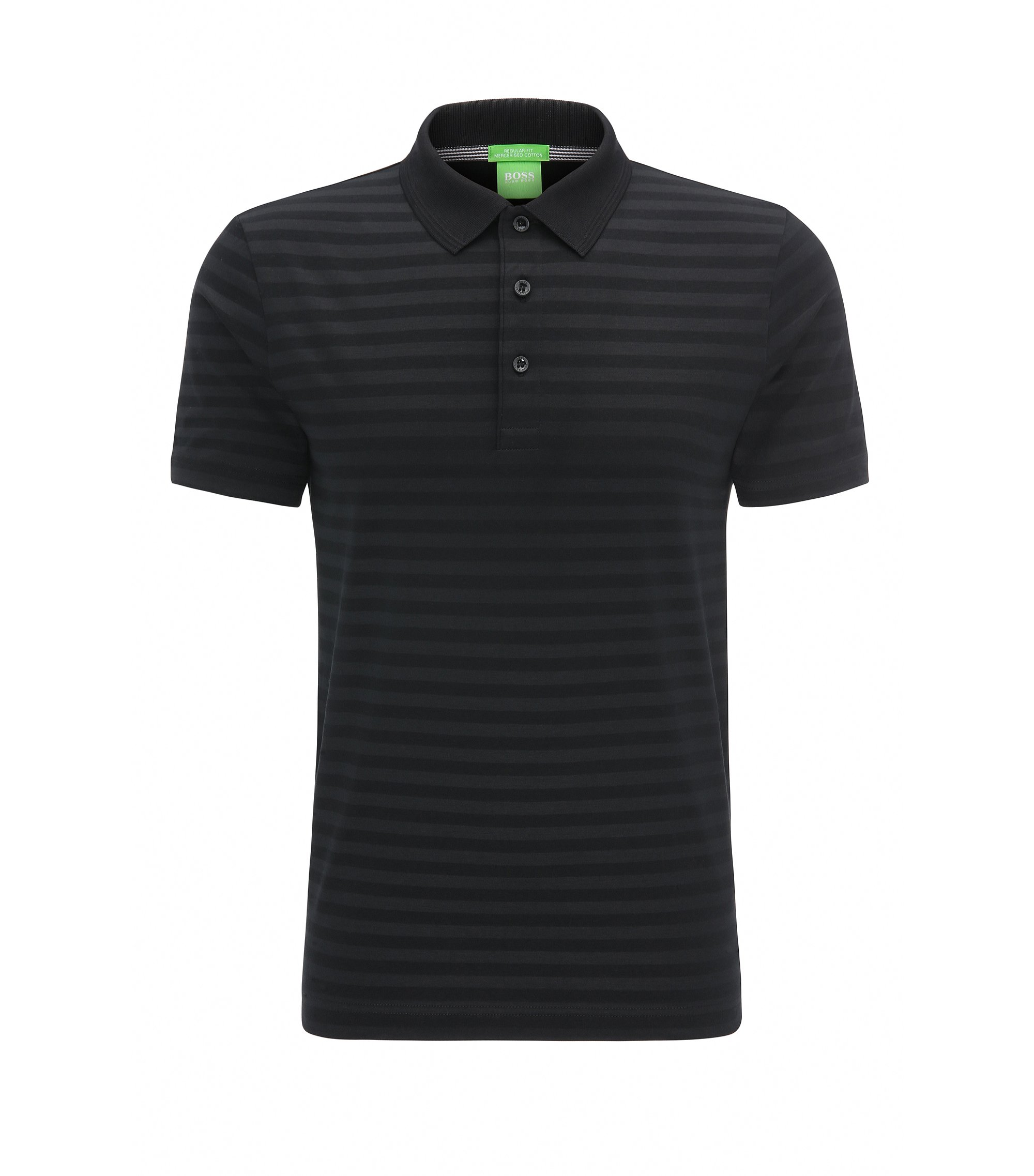 Regular-fit polo shirt in mercerised cotton, Black